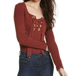 Free People Looking Back Lace-Up Top Wine